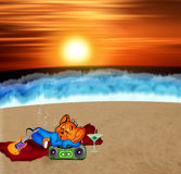 Relax. A funny cartoon cat listening music and relax at sunset beach Stock Images