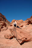 Relax. A girl doing yoga in Red Rock Canyon, Las Vegas Nevada Royalty Free Stock Photo