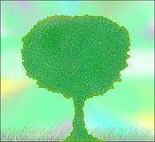 Relax. Ing drawing of a green tree Royalty Free Stock Image