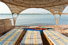 Relax. Three beach chairs at the Red Sea Stock Photo
