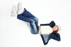 Relax. Teenager girl, lying down, relaxing Royalty Free Stock Images