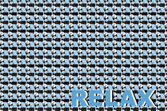 Relax. Background display pattern with ironical inscription of Relax. An image consists of bright contrasting details of geometrical form, which is caused Stock Photos