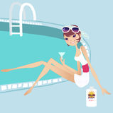 Relax. Having a break at the pool side stock illustration