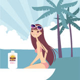 Relax. Having a break at the beach royalty free illustration