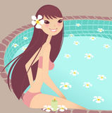 Relax. Having a break at the pool vector illustration