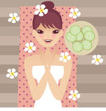 Relax. Ing beauty young lady doing spa stock illustration