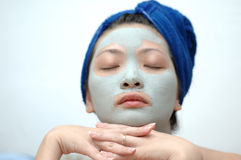 Relax. Asian girl with mask relaxing Royalty Free Stock Photography