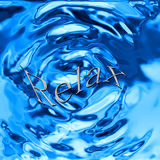 Relax. The word relax written in a puddle of rippling water vector illustration