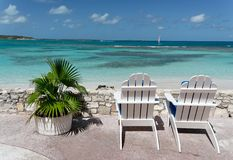 Relax. Canvas chairs on a beautiful caribbean terrace Royalty Free Stock Image