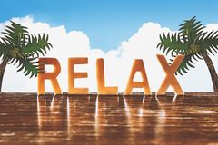 Relax alphabet and papercut tree with sky Stock Photo