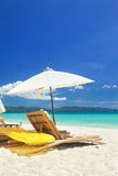 Relax area on beach Stock Image
