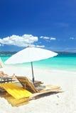 Relax area on beach Stock Photos