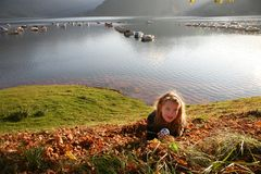 Relax at the autumn lake Royalty Free Stock Image