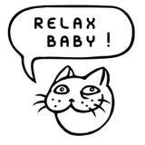 Relax Baby! Cartoon Cat Head. Speech Bubble. Vector Illustration. Stock Photo