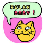 Relax Baby! Cartoon Cat Head. Speech Bubble. Vector Illustration. Funny cool emoticon character. Pink background. Contour freehand digital drawing cute Stock Photography