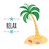 Relax banner. Summer cute print made with motivational saying. Stock Image