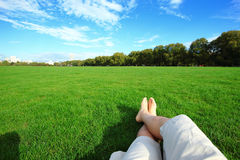 Relax barefoot enjoy nature Royalty Free Stock Photo