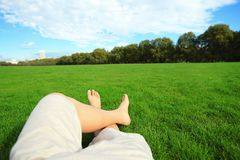 Relax barefoot enjoy nature Royalty Free Stock Image