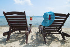 Relax on the beach. With red cocktail Royalty Free Stock Photography