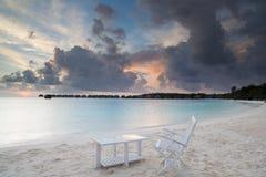 Relax on beach. Sunrise on tropical beach, malediven Royalty Free Stock Photos