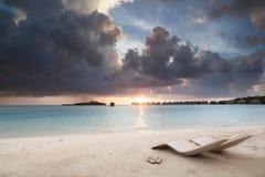 Relax on beach. Sunrise on tropical beach, malediven Stock Photography