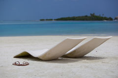 Relax on beach. Tropical beach with lounger, malediven Stock Photo
