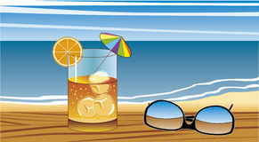 Relax in beach. Drink and sunglasses on table in front of the beach Royalty Free Illustration
