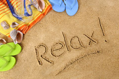 Relax beach vacation writing Royalty Free Stock Photos