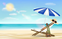 Relax beach chair umbrella with sea beach background. A relax beach chair umbrella with sea beach background Royalty Free Stock Photos