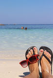 Relax on the beach with clean blue water Royalty Free Stock Images