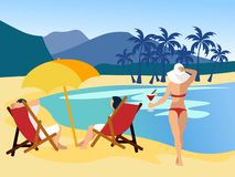 Relax on the beach. Drawing a dream, people at sea, a desert island. In minimalist style Cartoon flat Vector stock illustration