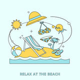 Relax at the beach illustration Royalty Free Stock Images
