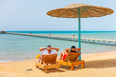 Relax on the beach at Red Sea. In Egypt Stock Image