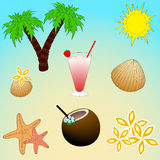 Relax on the beach . Set of objects. A vacation in the tropics. Icons set stock illustration
