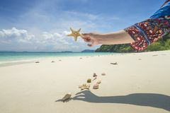 Relax on beautiful tropical beach on blue sky and white sand. Su. Mmer concept Royalty Free Stock Image