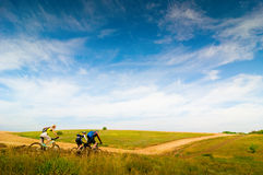 Relax biking. Mixed group of cyclists relax biking outdoors royalty free stock photography