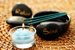 Relax body soul. Stones - beauty treatment Royalty Free Stock Photography