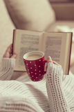 Relax with book and coffee Royalty Free Stock Image