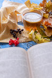 Relax with book and tea conception. new book. bestseller. Still cold weather. Hot tea, autumn leaves, an interesting book. All you need on a cold day. book with Stock Photos