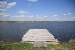 Relax. Bridge with a lake view stock photos