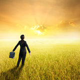 Relax business woman holding bag in yellow rice field and sunset Stock Photos