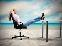 Relax of a businesswoman stock image