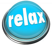 Relax Calm Down Blue Button Light Cool Off Rest. Relax word on a 3d button or light illustrating a reminder to calm down or cool off with rest, recreation Royalty Free Stock Image