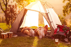 Relax in campsite after hard day Stock Images