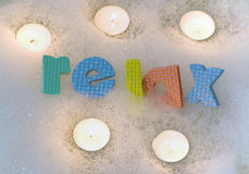 Relax with candles bath time Stock Photos