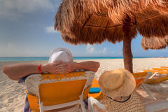 Relax on the Caribbean beach Stock Images