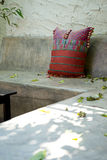 Relax cement seat cotton cloth pillow Royalty Free Stock Image