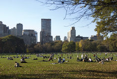 Relax in Central Park. People relaxing in Central Park in autumn time -  Manhattan, New York Royalty Free Stock Photos