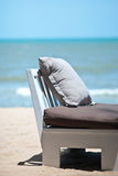 Relax chair on the beach. With blue sky background in Pataya, Thailand royalty free stock photography