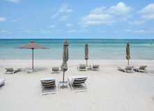 Relax chairs on the beach in Phan Rang, Vietnam.  Royalty Free Stock Image